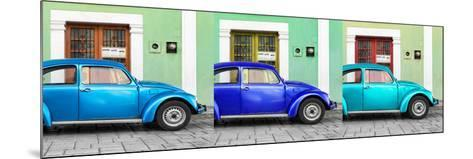 ¡Viva Mexico! Panoramic Collection - Three VW Beetle Cars with Colors Street Wall XVI-Philippe Hugonnard-Mounted Photographic Print