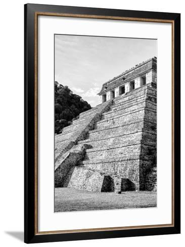 ¡Viva Mexico! B&W Collection - Mayan Temple of Inscriptions III - Palenque-Philippe Hugonnard-Framed Art Print