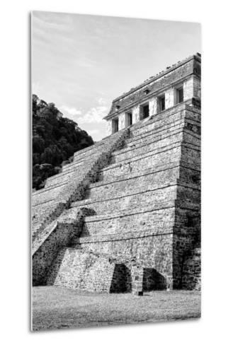 ¡Viva Mexico! B&W Collection - Mayan Temple of Inscriptions III - Palenque-Philippe Hugonnard-Metal Print