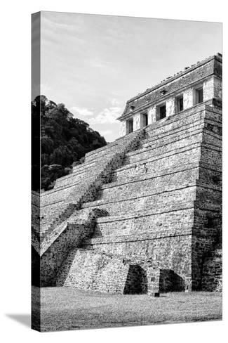 ¡Viva Mexico! B&W Collection - Mayan Temple of Inscriptions III - Palenque-Philippe Hugonnard-Stretched Canvas Print