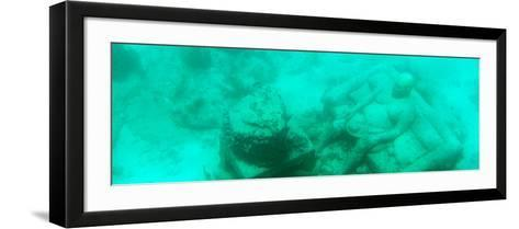 ¡Viva Mexico! Panoramic Collection - Sculptures at bottom of sea in Cancun III-Philippe Hugonnard-Framed Art Print