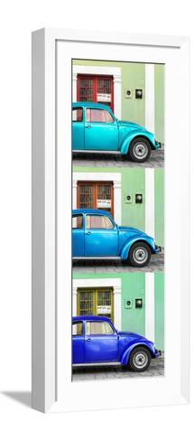¡Viva Mexico! Panoramic Collection - Three VW Beetle Cars with Colors Street Wall XXVIII-Philippe Hugonnard-Framed Art Print