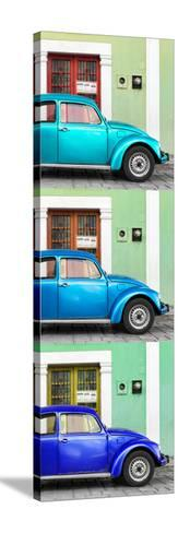 ¡Viva Mexico! Panoramic Collection - Three VW Beetle Cars with Colors Street Wall XXVIII-Philippe Hugonnard-Stretched Canvas Print