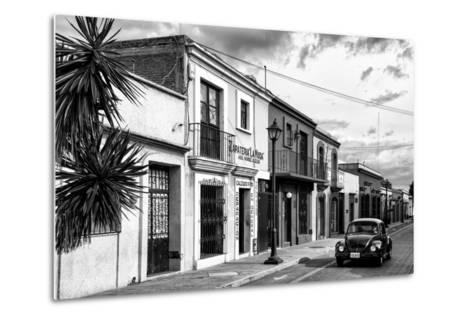 ¡Viva Mexico! B&W Collection - Black VW Beetle Car in Mexican Street II-Philippe Hugonnard-Metal Print