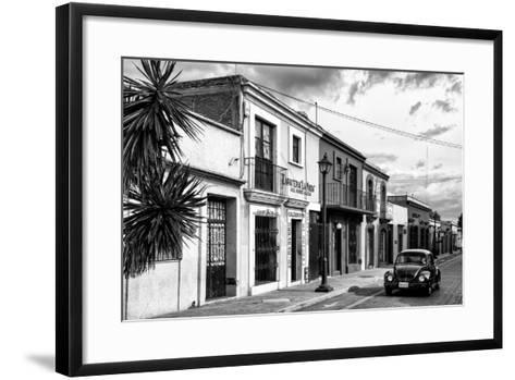 ¡Viva Mexico! B&W Collection - Black VW Beetle Car in Mexican Street II-Philippe Hugonnard-Framed Art Print
