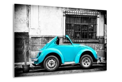 ?Viva Mexico! B&W Collection - Small Turquoise VW Beetle Car-Philippe Hugonnard-Metal Print