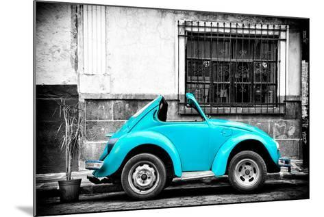 ?Viva Mexico! B&W Collection - Small Turquoise VW Beetle Car-Philippe Hugonnard-Mounted Photographic Print