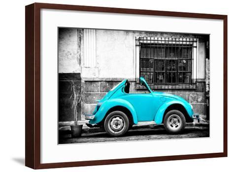 ?Viva Mexico! B&W Collection - Small Turquoise VW Beetle Car-Philippe Hugonnard-Framed Art Print
