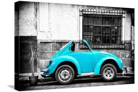 ?Viva Mexico! B&W Collection - Small Turquoise VW Beetle Car-Philippe Hugonnard-Stretched Canvas Print