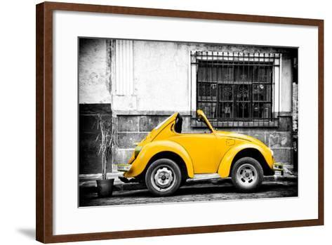 ¡Viva Mexico! B&W Collection - Small Gold VW Beetle Car-Philippe Hugonnard-Framed Art Print