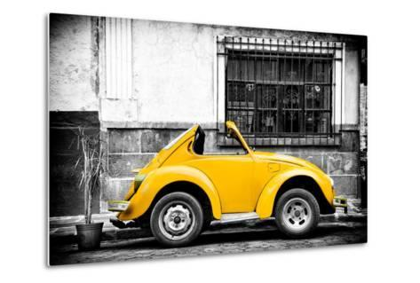 ¡Viva Mexico! B&W Collection - Small Gold VW Beetle Car-Philippe Hugonnard-Metal Print
