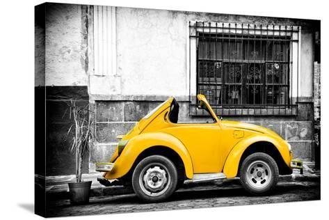 ¡Viva Mexico! B&W Collection - Small Gold VW Beetle Car-Philippe Hugonnard-Stretched Canvas Print