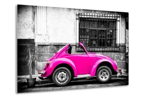 ?Viva Mexico! B&W Collection - Small Deep Pink VW Beetle Car-Philippe Hugonnard-Metal Print