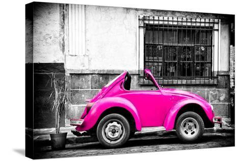 ?Viva Mexico! B&W Collection - Small Deep Pink VW Beetle Car-Philippe Hugonnard-Stretched Canvas Print