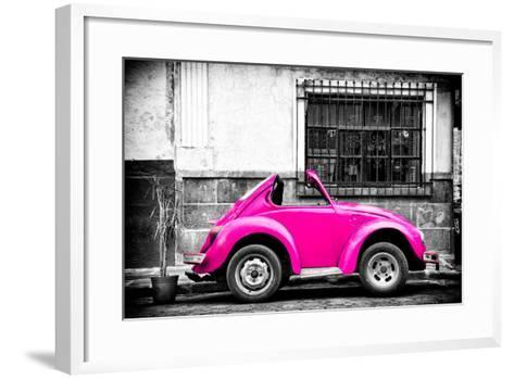 ?Viva Mexico! B&W Collection - Small Deep Pink VW Beetle Car-Philippe Hugonnard-Framed Art Print