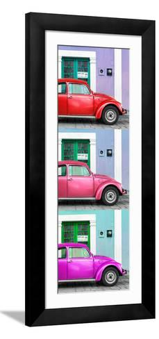 ¡Viva Mexico! Panoramic Collection - Three VW Beetle Cars with Colors Street Wall XXX-Philippe Hugonnard-Framed Art Print