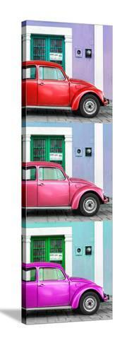 ¡Viva Mexico! Panoramic Collection - Three VW Beetle Cars with Colors Street Wall XXX-Philippe Hugonnard-Stretched Canvas Print