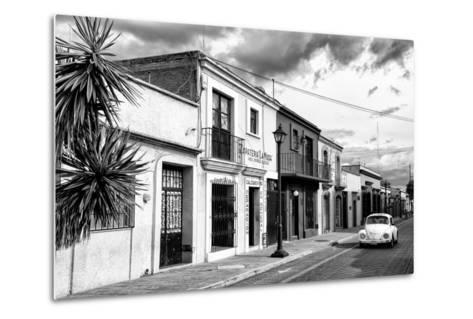 ?Viva Mexico! B&W Collection - White VW Beetle Car in Mexican Street II-Philippe Hugonnard-Metal Print