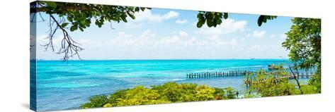 ¡Viva Mexico! Panoramic Collection - Isla Mujeres Coastline V-Philippe Hugonnard-Stretched Canvas Print