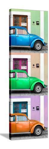 ¡Viva Mexico! Panoramic Collection - Three VW Beetle Cars with Colors Street Wall XXXIX-Philippe Hugonnard-Stretched Canvas Print