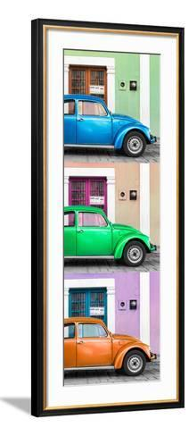 ¡Viva Mexico! Panoramic Collection - Three VW Beetle Cars with Colors Street Wall XXXIX-Philippe Hugonnard-Framed Art Print