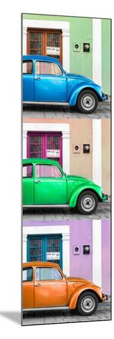 ¡Viva Mexico! Panoramic Collection - Three VW Beetle Cars with Colors Street Wall XXXIX-Philippe Hugonnard-Mounted Photographic Print