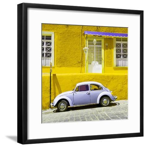 ¡Viva Mexico! Square Collection - VW Beetle Car and Yellow Wall-Philippe Hugonnard-Framed Art Print