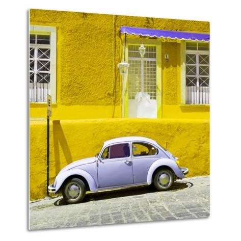 ¡Viva Mexico! Square Collection - VW Beetle Car and Yellow Wall-Philippe Hugonnard-Metal Print