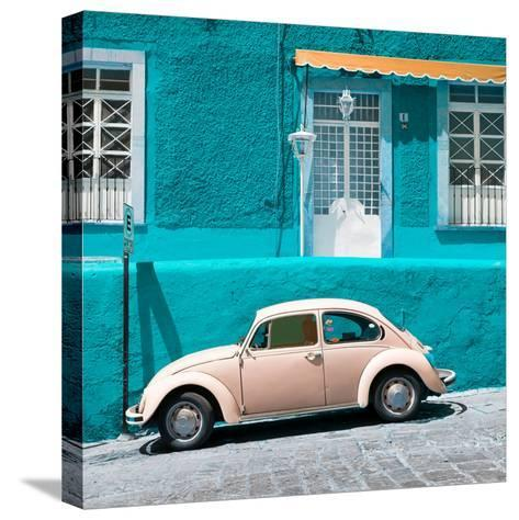 ¡Viva Mexico! Square Collection - VW Beetle Car and Turquoise Wall-Philippe Hugonnard-Stretched Canvas Print