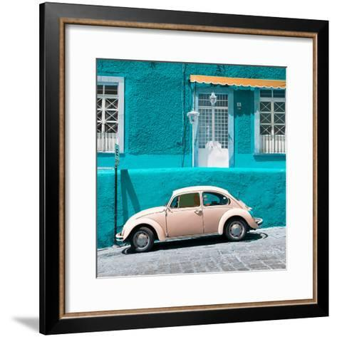 ¡Viva Mexico! Square Collection - VW Beetle Car and Turquoise Wall-Philippe Hugonnard-Framed Art Print