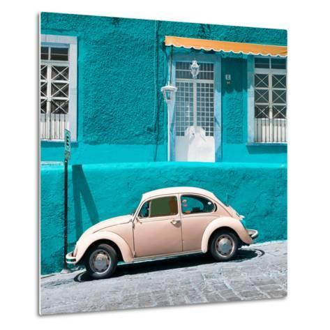 ¡Viva Mexico! Square Collection - VW Beetle Car and Turquoise Wall-Philippe Hugonnard-Metal Print