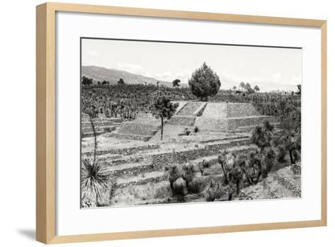 ?Viva Mexico! B&W Collection - Pyramid of Puebla VII (Cantona Ruins)-Philippe Hugonnard-Framed Art Print