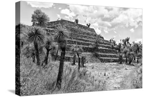 ¡Viva Mexico! B&W Collection - Pyramid of Puebla III (Cantona Ruins)-Philippe Hugonnard-Stretched Canvas Print