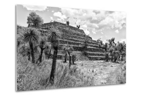 ¡Viva Mexico! B&W Collection - Pyramid of Puebla III (Cantona Ruins)-Philippe Hugonnard-Metal Print