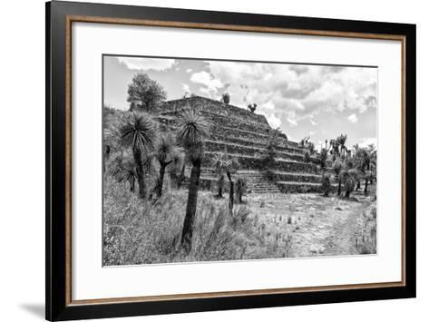 ¡Viva Mexico! B&W Collection - Pyramid of Puebla III (Cantona Ruins)-Philippe Hugonnard-Framed Art Print