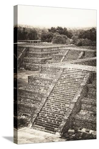 ?Viva Mexico! B&W Collection - Teotihuacan Pyramids - Archaeological Site-Philippe Hugonnard-Stretched Canvas Print