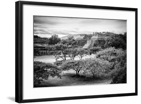¡Viva Mexico! B&W Collection - Monte Alban Pyramids II-Philippe Hugonnard-Framed Art Print