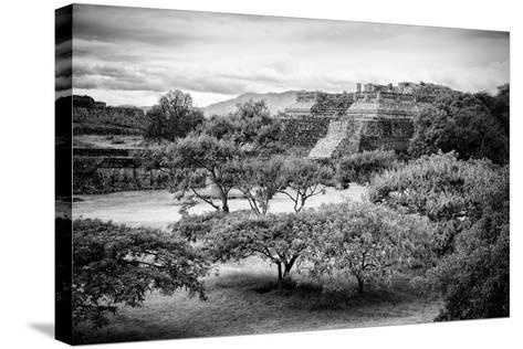 ¡Viva Mexico! B&W Collection - Monte Alban Pyramids II-Philippe Hugonnard-Stretched Canvas Print