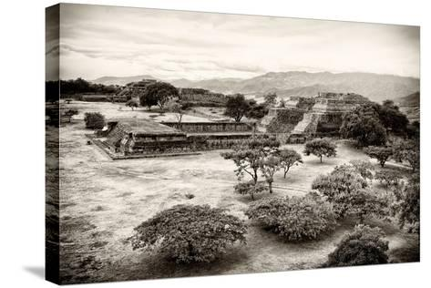 ?Viva Mexico! B&W Collection - Monte Alban Pyramids VII-Philippe Hugonnard-Stretched Canvas Print