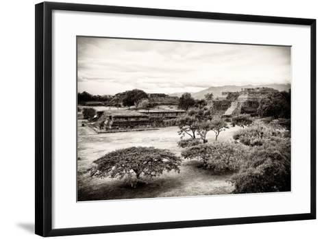 ¡Viva Mexico! B&W Collection - Monte Alban Pyramids III-Philippe Hugonnard-Framed Art Print
