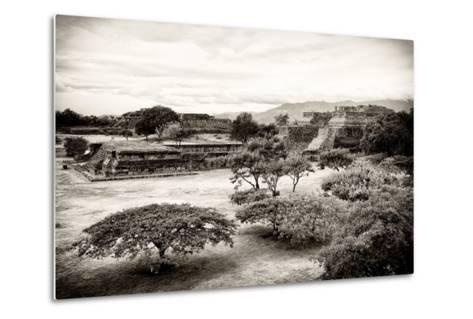 ¡Viva Mexico! B&W Collection - Monte Alban Pyramids III-Philippe Hugonnard-Metal Print