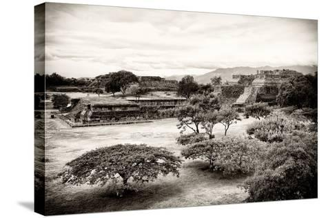 ¡Viva Mexico! B&W Collection - Monte Alban Pyramids III-Philippe Hugonnard-Stretched Canvas Print