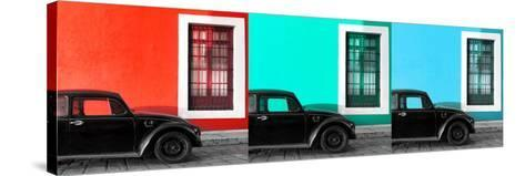 ¡Viva Mexico! Panoramic Collection - Three Black VW Beetle Cars IX-Philippe Hugonnard-Stretched Canvas Print