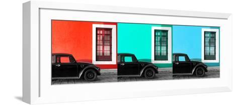 ¡Viva Mexico! Panoramic Collection - Three Black VW Beetle Cars IX-Philippe Hugonnard-Framed Art Print