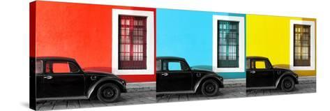 ¡Viva Mexico! Panoramic Collection - Three Black VW Beetle Cars XII-Philippe Hugonnard-Stretched Canvas Print