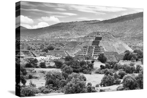 ?Viva Mexico! B&W Collection - Teotihuacan Pyramids III - Archaeological Site-Philippe Hugonnard-Stretched Canvas Print