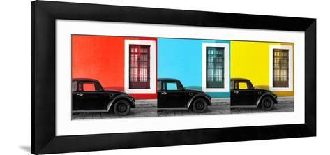 ¡Viva Mexico! Panoramic Collection - Three Black VW Beetle Cars XII-Philippe Hugonnard-Framed Art Print