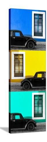 ¡Viva Mexico! Panoramic Collection - Three Black VW Beetle Cars XVI-Philippe Hugonnard-Stretched Canvas Print