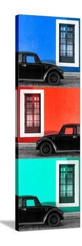 ¡Viva Mexico! Panoramic Collection - Three Black VW Beetle Cars XVII-Philippe Hugonnard-Stretched Canvas Print