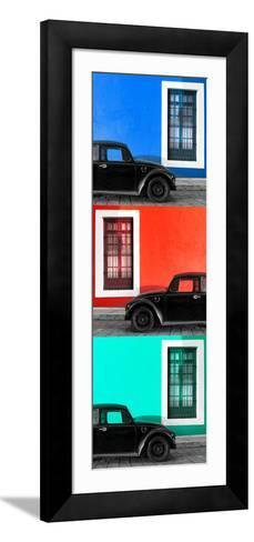 ¡Viva Mexico! Panoramic Collection - Three Black VW Beetle Cars XVII-Philippe Hugonnard-Framed Art Print